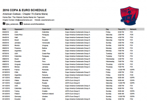 Summer of Soccer Schedule